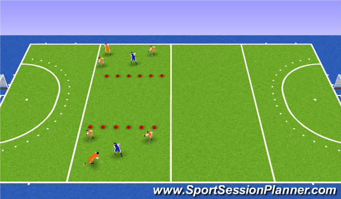Hockey Session Plan Drill (Colour): possession x vs x-2