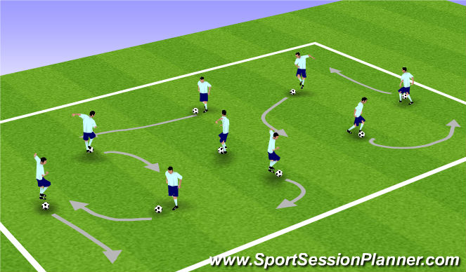 Football/Soccer Session Plan Drill (Colour): On the Ball Warm up!