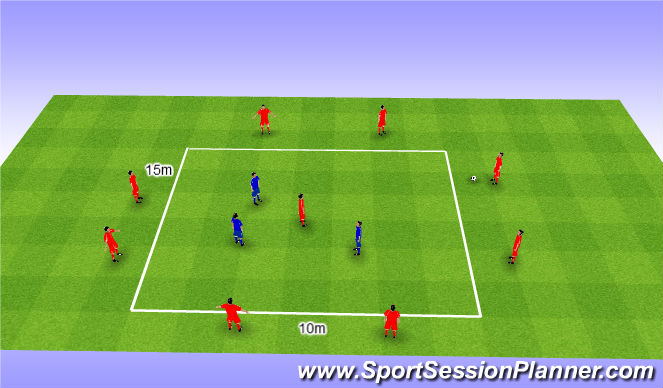 Football/Soccer Session Plan Drill (Colour): Rondo 9v3+1. Dziadek 9v3+1.
