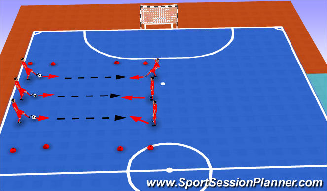 Futsal Session Plan Drill (Colour): Pases y recepcion