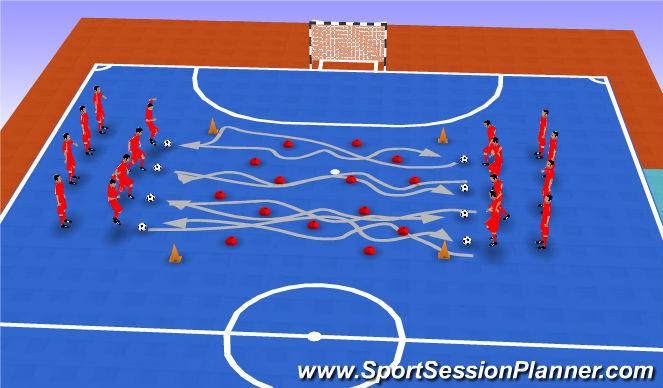 Futsal Session Plan Drill (Colour): paso obstaculos