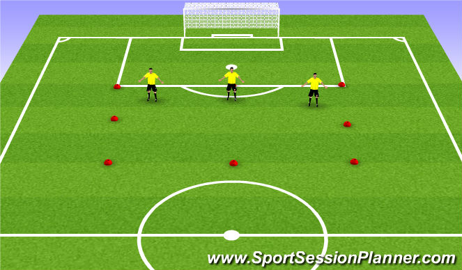 Football/Soccer Session Plan Drill (Colour): 3v4 def in width of 18