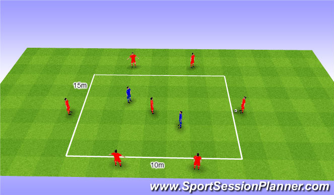 Football/Soccer Session Plan Drill (Colour): Rondo 6v2+1. Dziadek 6v2+1