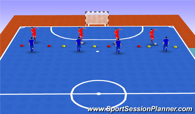 Futsal Session Plan Drill (Colour): 1v1