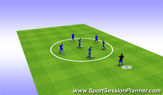 Football/Soccer Session Plan Drill (Colour): Warm up ball manipulation