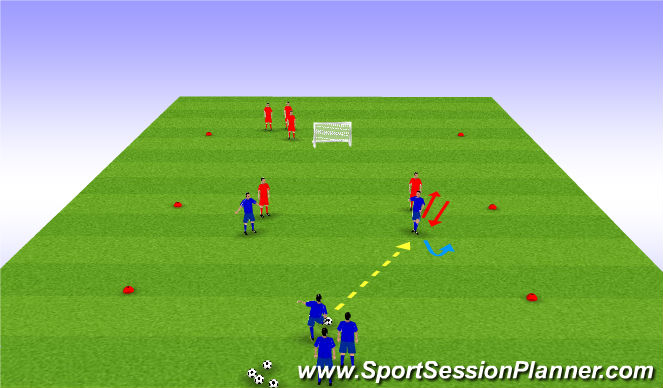 Football/Soccer Session Plan Drill (Colour): 2v2 + Bumper - Losing your mark