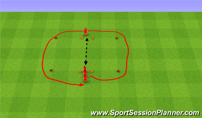 Football/Soccer Session Plan Drill (Colour): Relays. Sztafeta