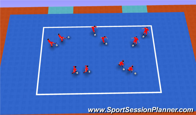 Futsal Session Plan Drill (Colour): La sombra con balón