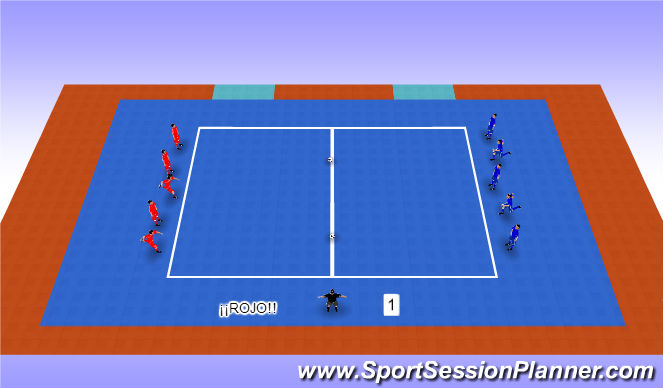 Futsal Session Plan Drill (Colour): Pañuelo doble balon