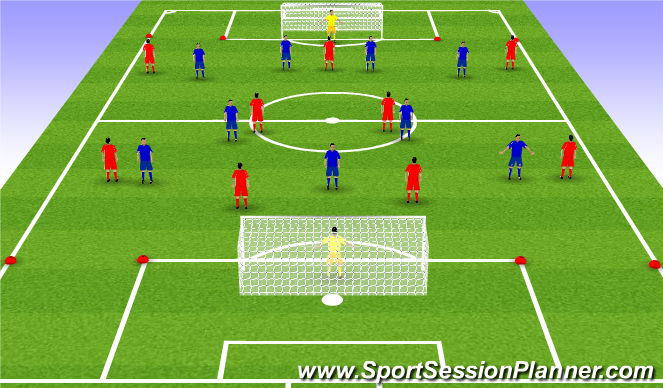 Football/Soccer Session Plan Drill (Colour): 9 vs 9 + 1 box-to-box