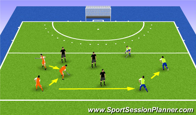Hockey Session Plan Drill (Colour): possession with 3 teams
