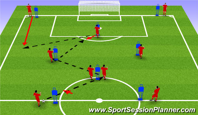 Football/Soccer Session Plan Drill (Colour): diamond shape passing