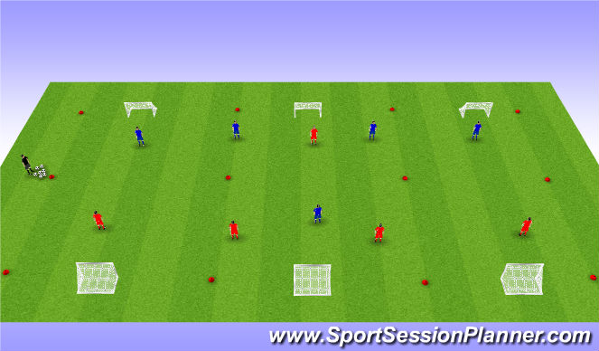 Football/Soccer Session Plan Drill (Colour): 5 vs 5 + 3 zones