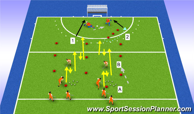 Hockey Session Plan Drill (Colour): passing/running warm up