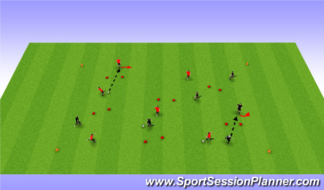 Football/Soccer Session Plan Drill (Colour): 6v6 warm up
