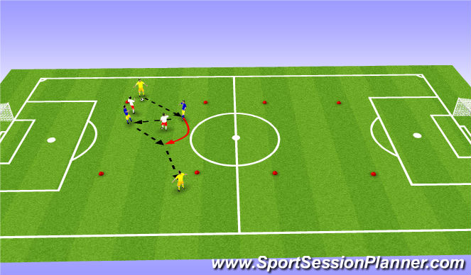 Football/Soccer Session Plan Drill (Colour): 2v2+2
