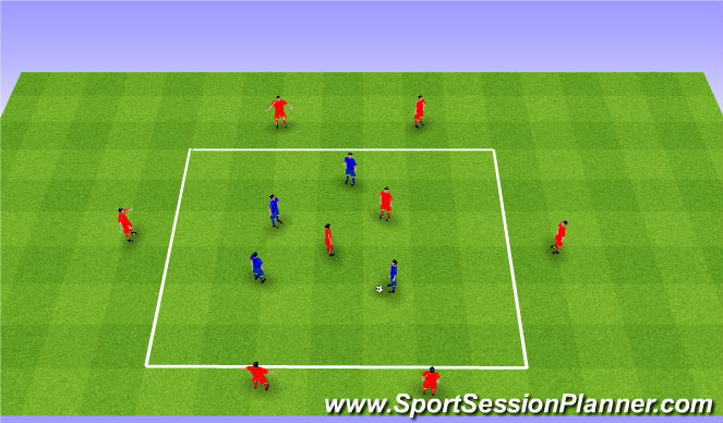 Football/Soccer Session Plan Drill (Colour): Rondo 6v4+2. Dziadek 6v4+2.