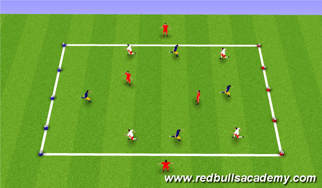 Football/Soccer Session Plan Drill (Colour): Fully Opposed - Conditioned Game