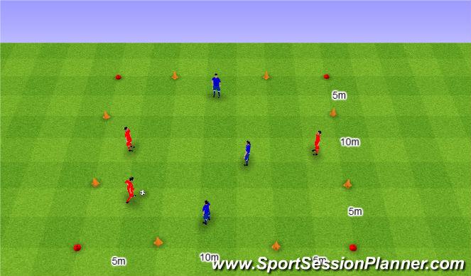 Football/Soccer Session Plan Drill (Colour): 3v3 with 4 goals. 3v3 na 4 bramki.