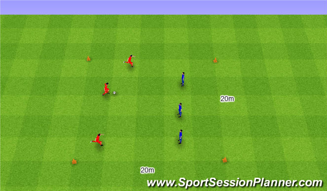 Football/Soccer Session Plan Drill (Colour): 3v3 with wide goals. 3v3 na szerokie bramki.