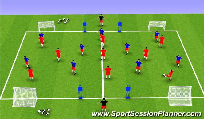 Football/Soccer Session Plan Drill (Colour): Retention of  the ball. Switching Play