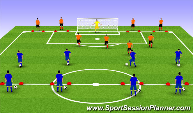 Football/Soccer Session Plan Drill (Colour): 1vs4 game