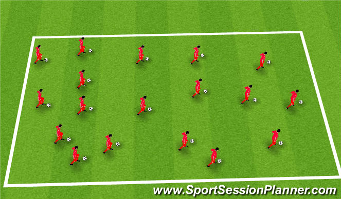 Football/Soccer Session Plan Drill (Colour): Warm Up with Challenger Trainer