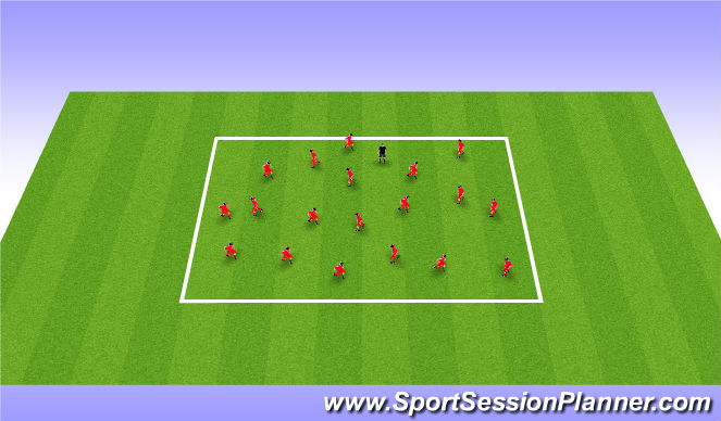 Football/Soccer Session Plan Drill (Colour): Warm Up 5mins