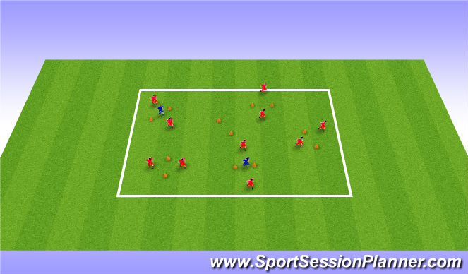Football/Soccer Session Plan Drill (Colour): Passing through gates - Opposed 10/15 mins