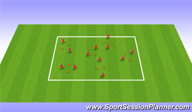 Football/Soccer Session Plan Drill (Colour): Passing through gates - Unopposed (10/15 mins)