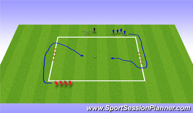 Football/Soccer Session Plan Drill (Colour): Conditioned Game - Battleships (10/15 mins)