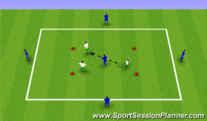 Football/Soccer Session Plan Drill (Colour): 3v1 / 5v3