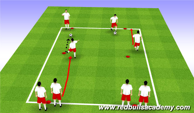 Football/Soccer Session Plan Drill (Colour): Warm up - Dynamic Movement + Ball