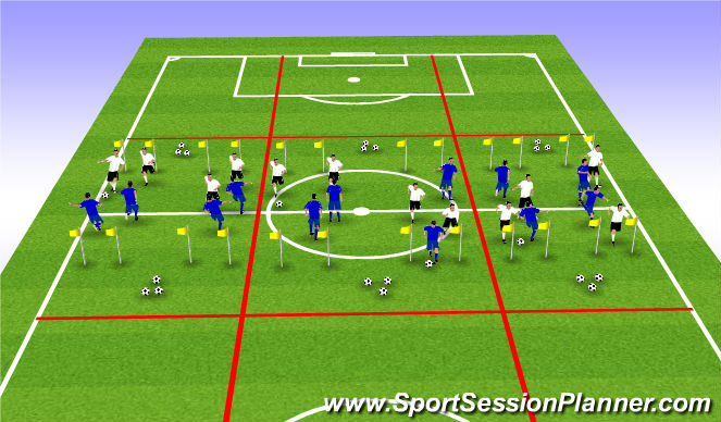 Football/Soccer Session Plan Drill (Colour): Ladders Game