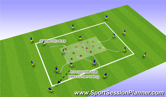Football/Soccer Session Plan Drill (Colour): dribble in tight area
