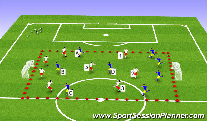 Football/Soccer Session Plan Drill (Colour): Posesión y finalizacion.