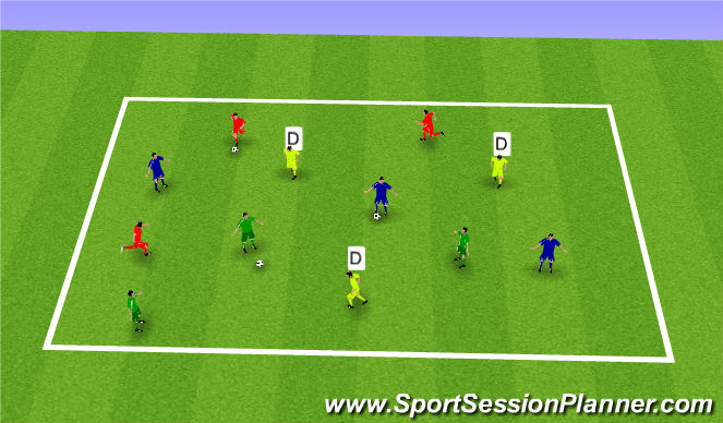 Football/Soccer Session Plan Drill (Colour): Pressured Passing