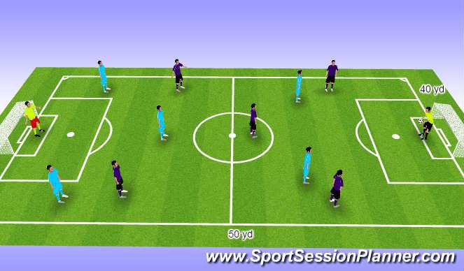 Football/Soccer Session Plan Drill (Colour): 6 vs. 6 Match