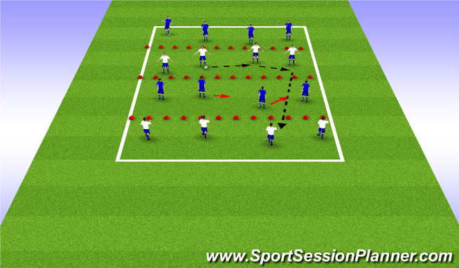 Football/Soccer Session Plan Drill (Colour): Defending passing lanes