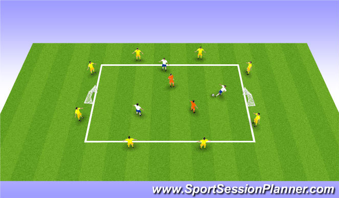Football/Soccer Session Plan Drill (Colour): Small Sided Game (20mins)