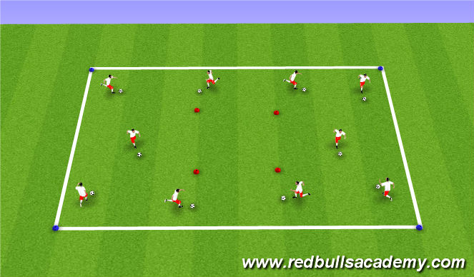 Football/Soccer Session Plan Drill (Colour): Dribbling Warm-Up