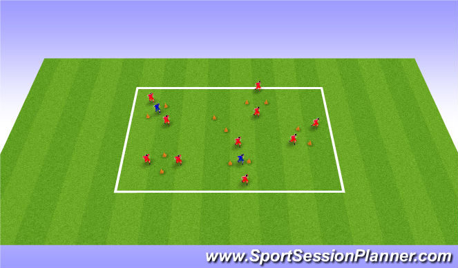 Football/Soccer Session Plan Drill (Colour): Passing through gates - Opposed (10/15 mins)