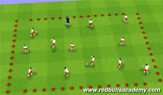 Football/Soccer Session Plan Drill (Colour): Warm-Up/Ball Mastery