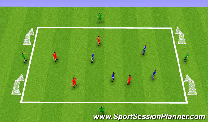 Football/Soccer Session Plan Drill (Colour): 4 v 4 v 4 - SSG