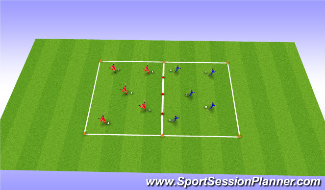 Football/Soccer Session Plan Drill (Colour): Opposed Shooting