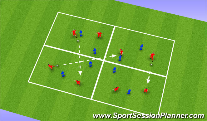 Football/Soccer Session Plan Drill (Colour): Passing, Receivig & Finding Space