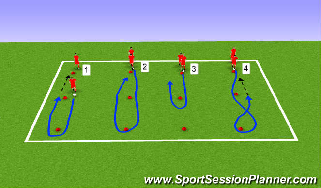 Football/Soccer Session Plan Drill (Colour): free dribbling warm up