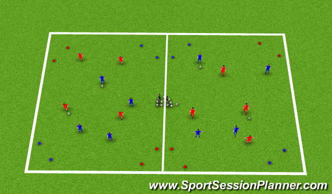 Football/Soccer Session Plan Drill (Colour): 1v1 skill game