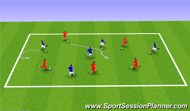 Football/Soccer Session Plan Drill (Colour): Ball Mastery and Awareness warm up