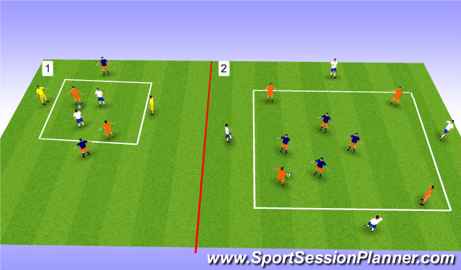 Football/Soccer Session Plan Drill (Colour): Possesion/Transition (25mins)